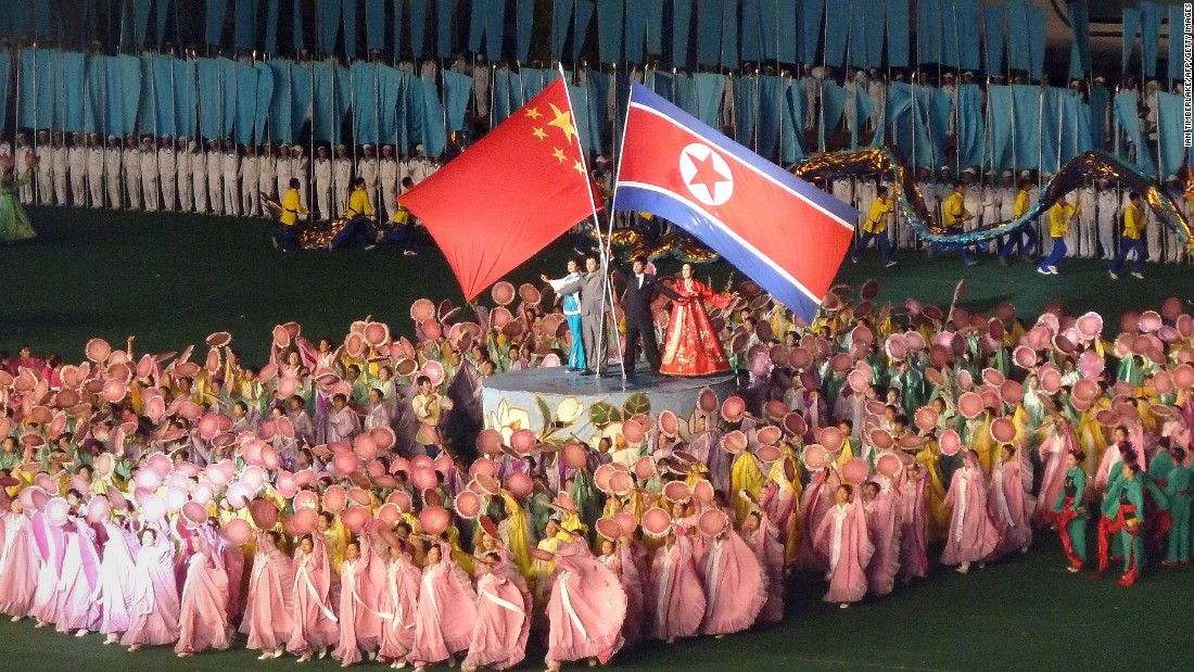 North Korea's mass games, the annual spectacle, regularly features the flags of both North Korea and China. The two countries have been longtime historic allies since China came to the aid of North Koreans during the Korean War. However, some observers believe relations between the two nations have cooled recently.