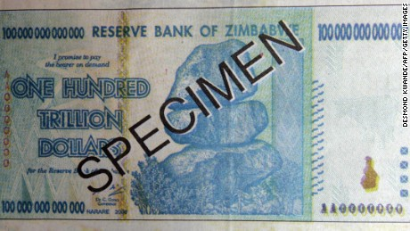A one hundred trillion dollar note, issued by Gideon Gono