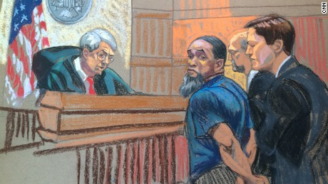 A sketch of Tairod Nathan Webster Pugh entering a not guilty plea.
