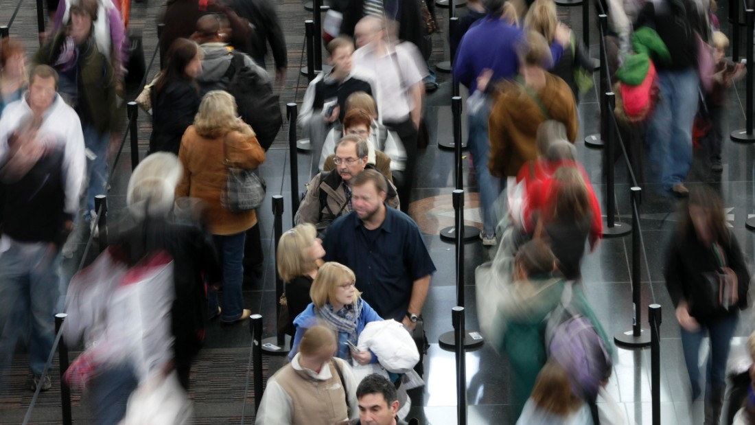 People at security lines in Denver International Airport. The SPOT program officers typically spend less than 30 seconds scanning an average passenger for over 90 behaviors that the TSA say are linked to stress, fear or deception.
