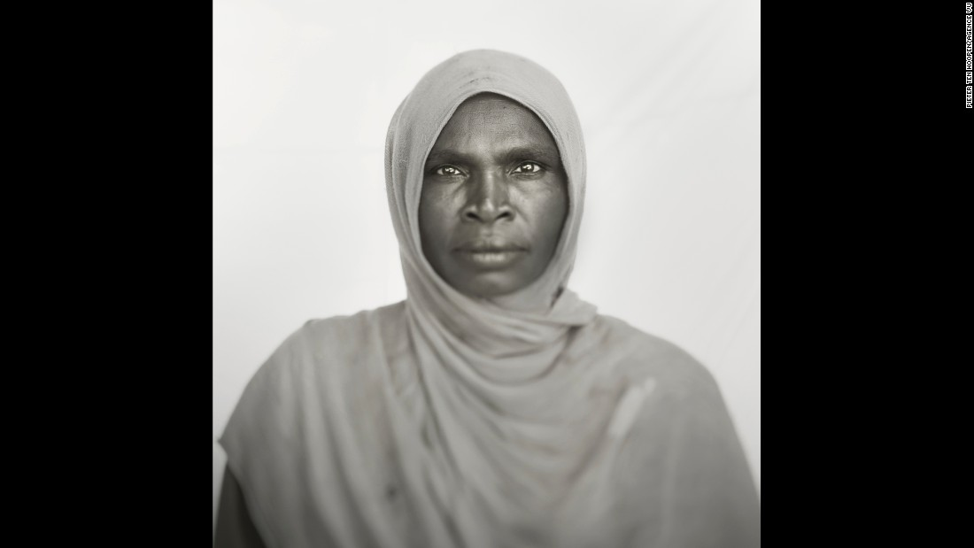 Hawa Haranan, 40, works as a cleaner at a medical clinic. She was born in the war-torn Darfur region, and she came to the Mayo camp as a refugee.