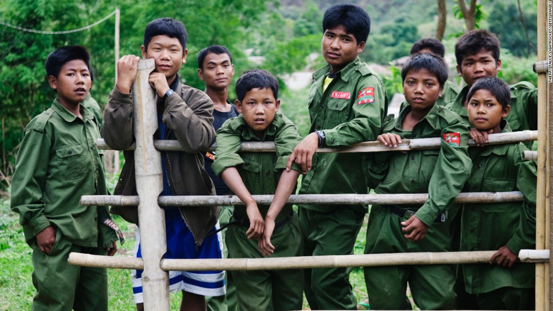 Child soldiers from the United Wa State Army (UWSA) in the so-called southern Wa State in Myanmar.