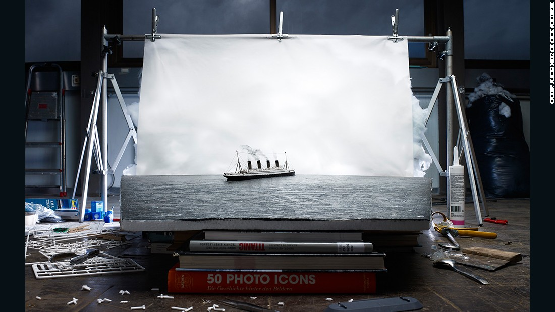 "Here, a recreated model of Francis Brown's 1912 ""The Last Photo of the Titanic Afloat,"" appears to magically sail out of the page."