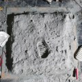 iconic photo recreated buzz aldrin moon footprint