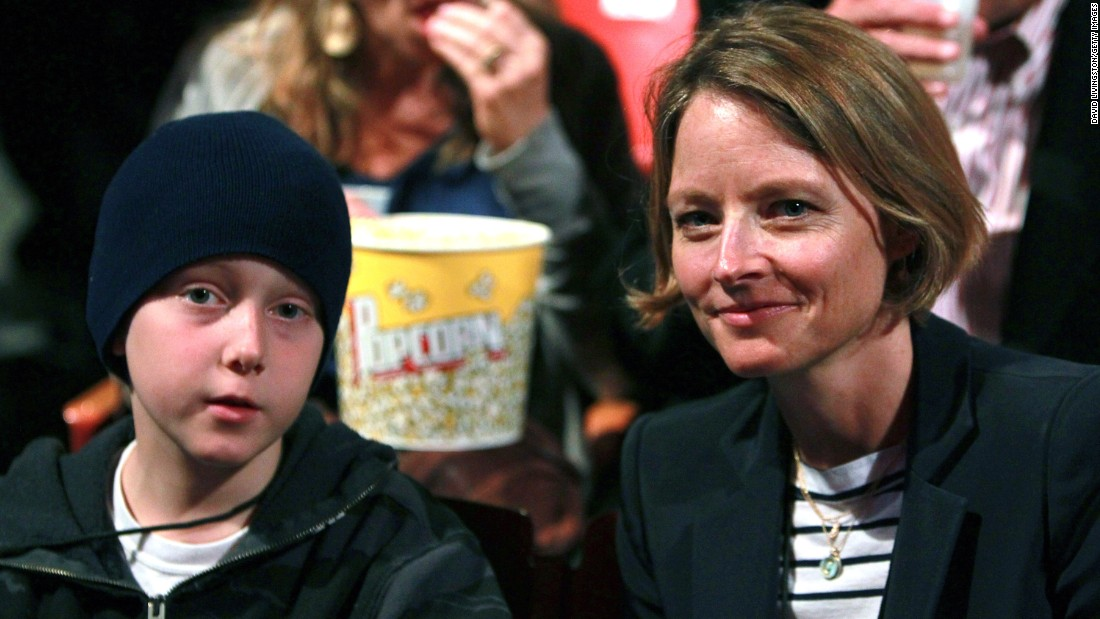 "Actress Jodie Foster, right, has two sons with ex Cydney Bernard. Son Christopher ""Kit"" Foster is shown here in 2011."