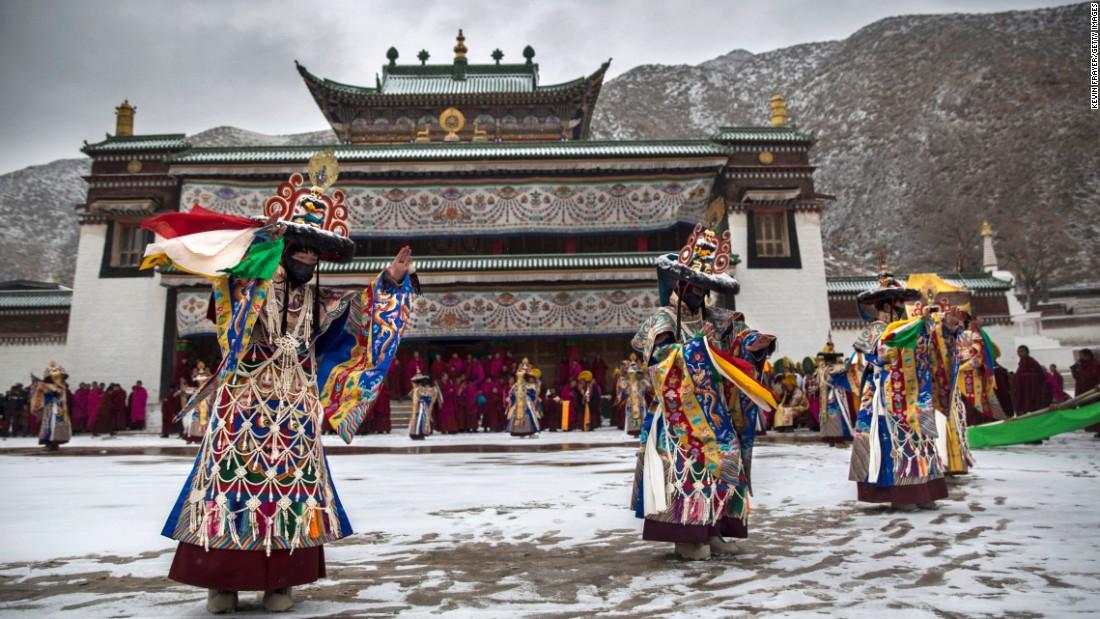 Tibetan Buddhist Monks Perform A U0026quot;black Hatu0026quot; Dance During Monlam,  The U0026quot