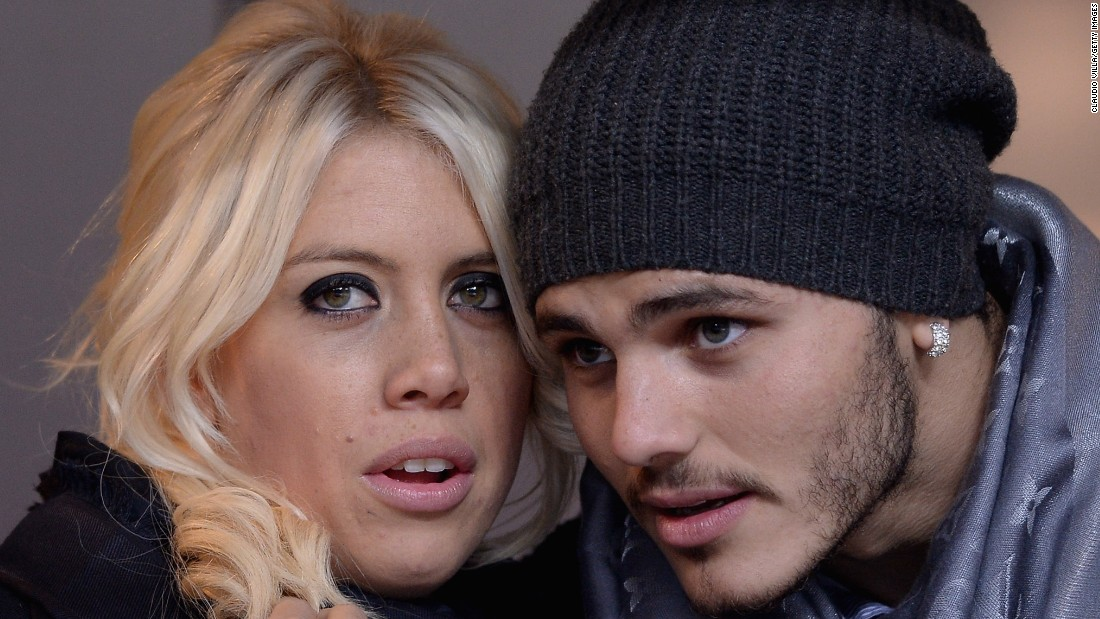 This isn't the first time Icardi has hit the front page headlines. The 23-year-old married his wife Wanda Nara, left, last year.  But, as always, the path of true love has not run smooth.
