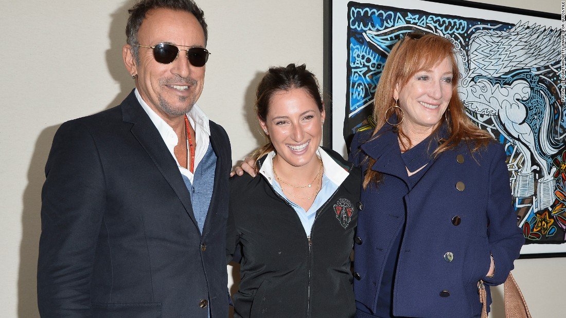 The 23-year-old is the daughter of Bruce Springsteen, left, and E Street Band member Patti Scialfa, right.