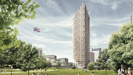 Architects C.F. Møller have designed a 34-story, wood-framed residential tower for the center of Stockholm. It could be built by 2023.