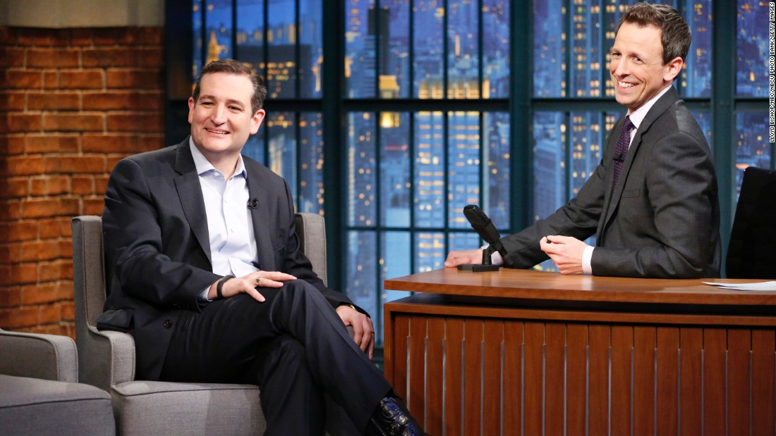 """Late Night"" host Seth Meyers interviews Cruz on Monday, March 16."
