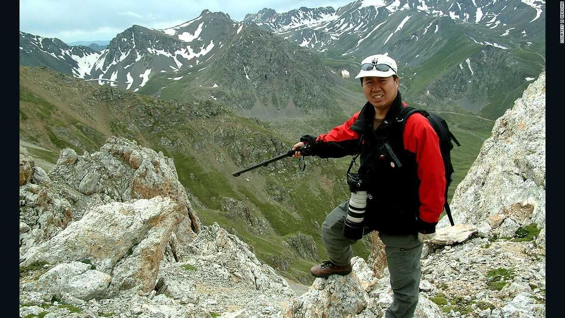 Li points to the location where he and his team spotted the Ili pika in 2014. He had not seen one for two decades.