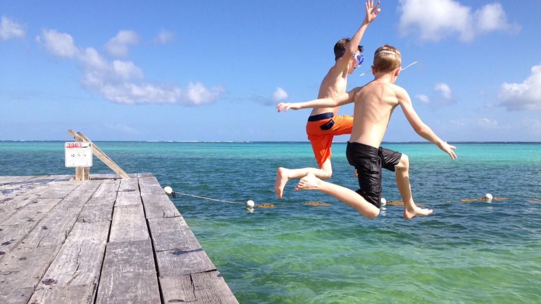 "<a href=""http://ireport.cnn.com/docs/DOC-1221638"">Courtney Hershberger</a> took this shot of her sons Ty and Luke jumping off the dock at Las Terrazas resort on Ambergris Caye. It was Christmas Day 2013. Ambergris Caye is Belize's largest island.<br />"