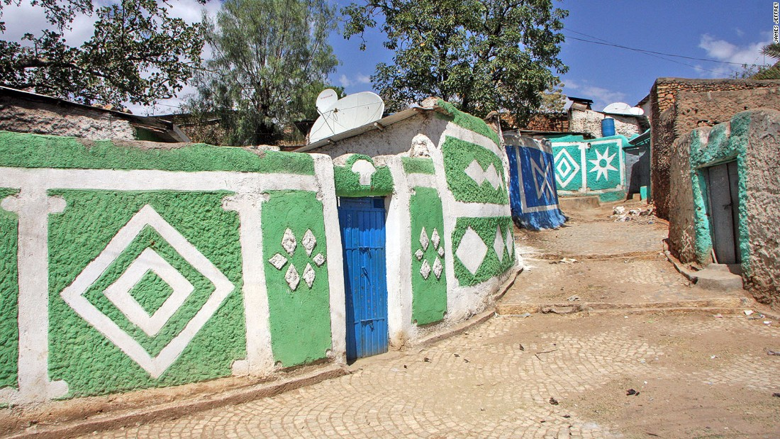 One of the colourful painted alleyways in Harar's Jugal, the 16th-century fortification within the modern city.