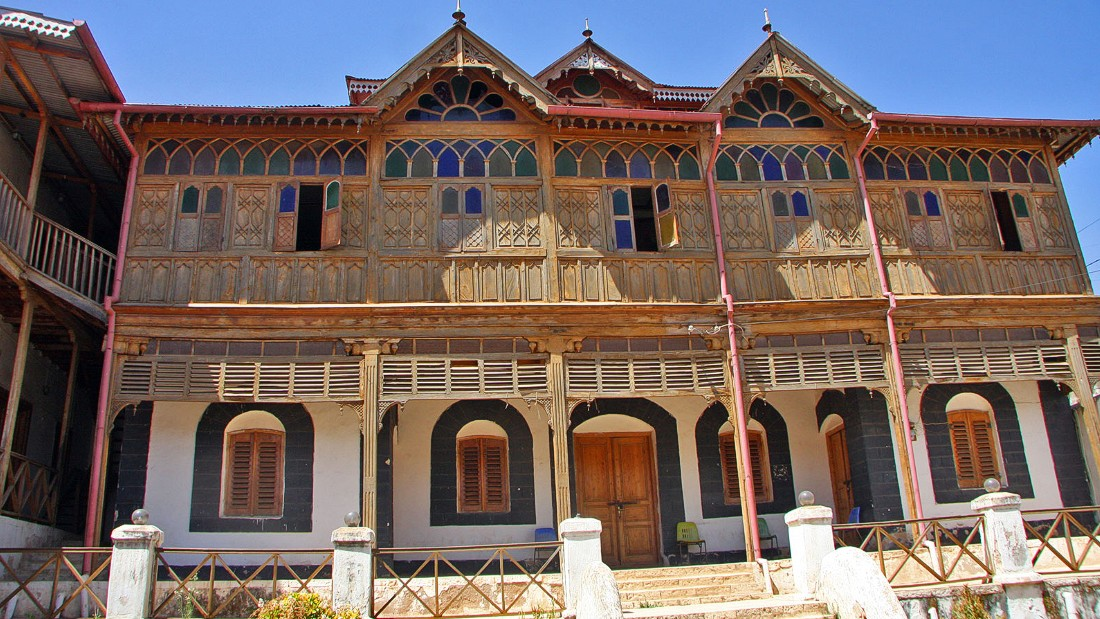 In the eastern city of Harar, this building is known as Arthur Rimbaud's house after the famous French poet who visited the area. It was actually built by an Indian merchant on the site of an earlier house where Rimbaud is said to have lived.