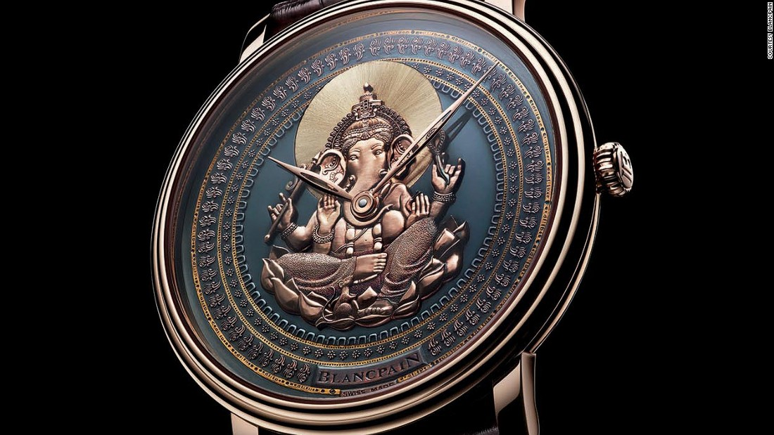 Talk about international: this Swiss-made watch incorporates shakudō, a copper and gold alloy created in Japan, and features the Hindu god Ganesha in the center.