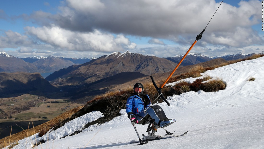 Queenstown, New Zealand is this year's No. 22 destination. Here, a competitor in the 2013 IPC Alpine Adaptive Slalom World Cup rides up to a race start line.
