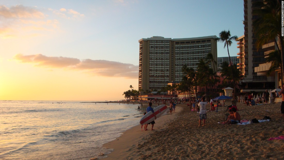 "Most of Hawaii's population lives on Oahu. In Honolulu, on the southeastern shore, the neighborhood of Waikiki was once home to Hawaiian royalty. ""Here you can learn to surf during the day and after sunset sway to the island rhythms. Visitors are always greeted with love and tenderness,"" said <a href=""http://ireport.cnn.com/docs/DOC-1223354"">iReporter Sobhana Venkatesan</a>."