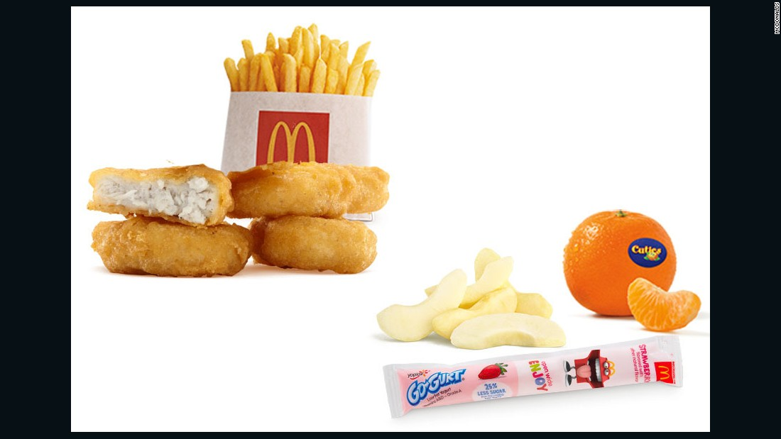 "If it is lunch time, I typically choose a kids meal. A 4-piece nugget, small fry, apples and a go-yogurt. This contains fewer than 500 calories. With this meal, the small portion size equals the right amount of calories for me. Plus it's adding a fruit and dairy serving for the day."" <br /><br />-- <a href=""http://www.realtalkrealfood.com/"" target=""_blank"">Angela Ginn-Meadow</a>, R.D., L.D.N., C.D.E., Spokesperson for The Academy of Nutrition & Dietetics"
