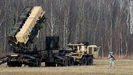 A Patriot air and missile defense system at a test range in Sochaczew, Poland, in March 2015.