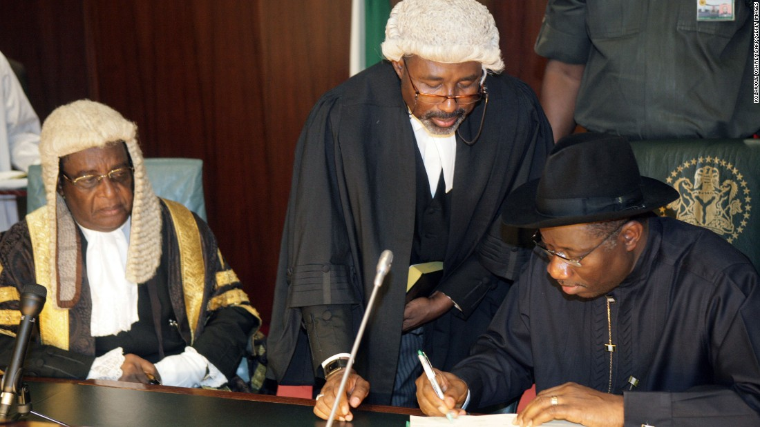 Former Vice President Goodluck Jonathan is sworn in to office after the death of President Umaru Yar'Adua. He goes on to win the 2011 election with 59% of the vote. In January 2012, he faces criticism for removing fuel subsidies, causing the price of petrol to soar, a move that sparks the Occupy Nigeria movement.
