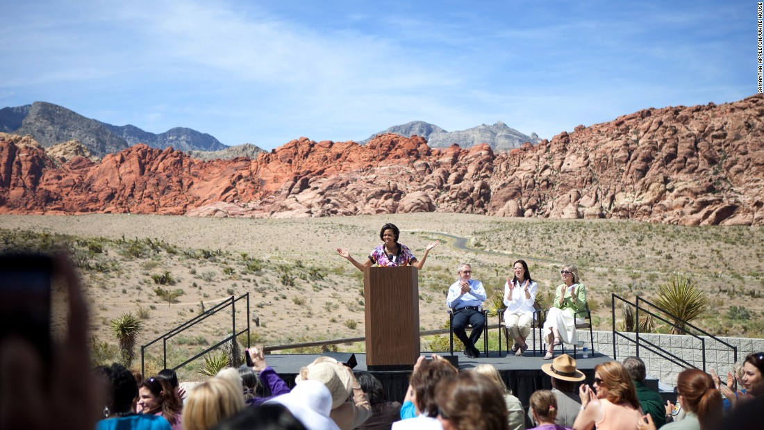 The first lady speaks about Let's Move! at the Visitors Center in Red Rock Canyon, Nevada, in 2010.