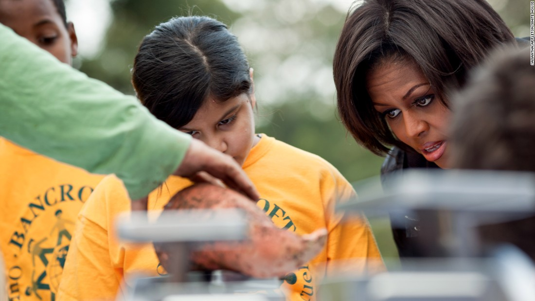 Childhood obesity rates have finally stopped rising -- and obesity rates are actually falling among our youngest children, according to Let's Move! initiative. The first lady attends the White House Kitchen Garden harvest on the South Lawn in 2010.