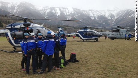 Gendarmerie and French mountain rescue teams arrive near the site of the Germanwings plane crash near the French Alps on March 24, 2015 in La Seyne les Alpes, France.