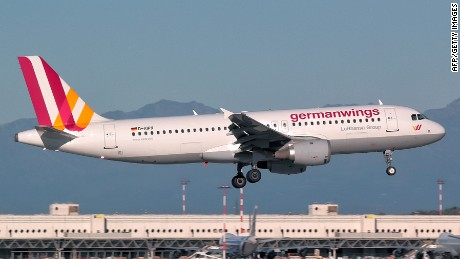 "This photo taken on September 2, 2014 at Milan Malpensa airport shows the Germanwings Airbus A320, that crashed in France on March 24, 2015. The plane, which had taken off from Barcelona in Spain and was headed for Dusseldorf in Germany, crashed on March 24, 2015 in the French Alps near the southeastern town of Seyne with 150 people onboard. AFP PHOTO / GIORGIO PAROLINI == RESTRICTED TO EDITORIAL USE - MANDATORY CREDIT ""AFP PHOTO / GIORGIO PAROLINI"" - NO MARKETING NO ADVERTISING CAMPAIGNS - DISTRIBUTED AS A SERVICE TO CLIENTS ==GIORGIO PAROLINI/AFP/Getty Images"