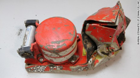 The voice data recorder of the Germanwings jet is seen in this photograph provided by the French Air Accident Investigation Agency on March 25.