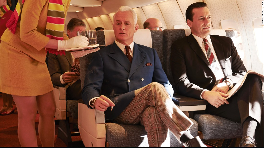 "In honor of the final episodes of the last season of ""Mad Men"" we look back at the television show's wardrobe, which reflects the 1960s and inspired modern looks. One thing that hasn't changed much: the look of Don Draper, played by Jon Hamm, right."
