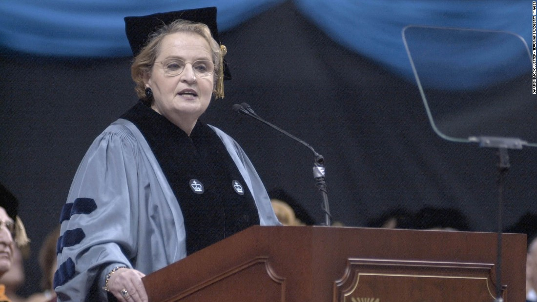 Former Secretary of State Madeleine Albright, shown earlier, addressed students at Tufts University on May 16.