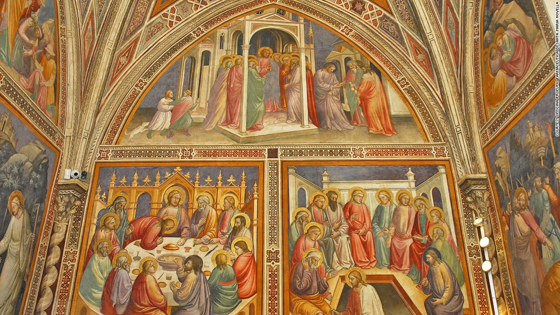 The apothercary's library, which used to be a church sacristy, still has the frescoes created in 1380 by  Early Renaissance painter Mariotto di Nardo.<br />