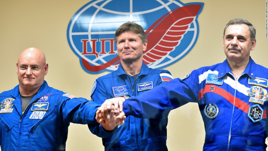 From left, Kelly, Padalka and Kornienko pose after a news conference at the Baikonur Cosmodrome on Thursday, March 26.