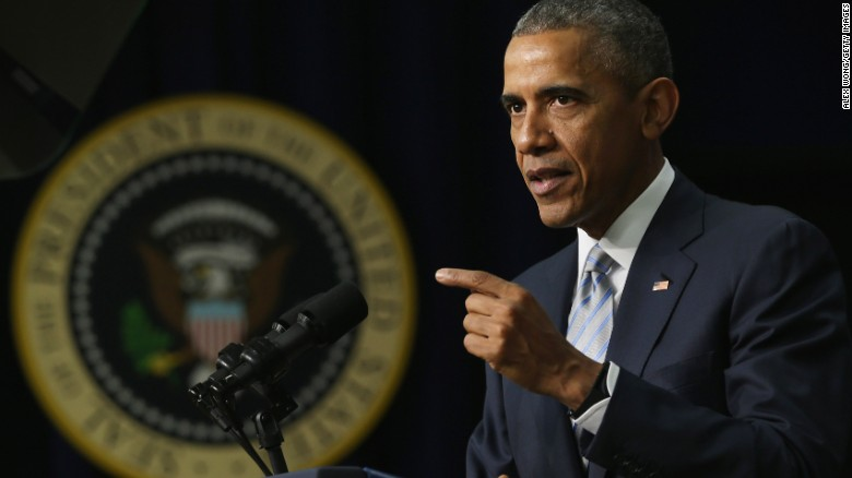 Caption:WASHINGTON, DC - MARCH 25: U.S. President Barack Obama speaks during an event marking the 5th anniversay of the Affordable Care Act March 25, 2015 at the South Court Auditorium of Eisenhower Executive Office Building in Washington, DC. President Obama spoke on the benefits of the legislation. (Photo by Alex Wong/Getty Images)