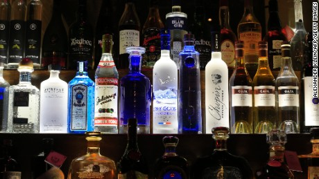 Various bottles of alcohol are seen at a bar in Vienna on April 12, 2013.  AFP PHOTO / ALEXANDER KLEIN        (Photo credit should read ALEXANDER KLEIN/AFP/Getty Images)