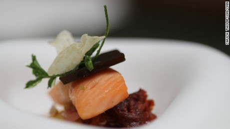 Trout marmitako: Crenn's take on the classic Basque stew. The ingredients are listed in the gallery above.