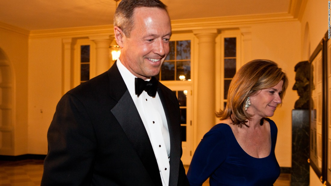 O'Malley and his wife Katie O'Malley arrive for a State Dinner in honor of British Prime Minister David Cameron at the White House on March 14, 2012.