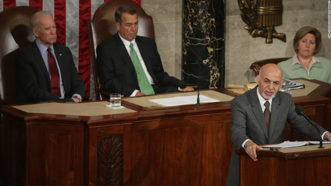 Afghanistan President Ashraf Ghani (right) expresses his country's gratitude for America's fiscal commitment and military sacrifices during an address to a joint meeting of the United States Congress with Vice President Joe Biden (left) and Speaker of the House John Boehner (R-OH) in the House Chamber of the U.S. Capitol March 25 in Washington.