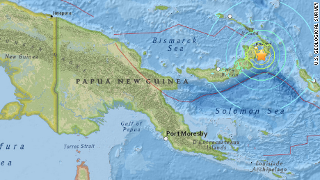 A map by the U.S. Geological Survey shows the epicenter of an magnitude 7.7 earthquake, 54 km (34 km) southeast of Kokopo, Papua New Guinea on March 29, 2015.