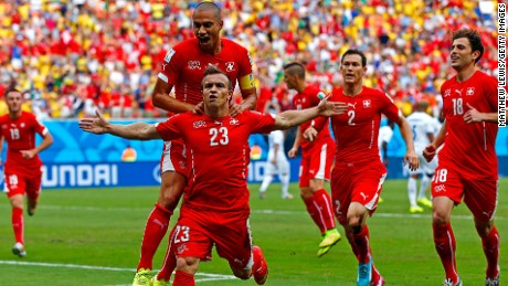 MANAUS, BRAZIL - JUNE 25: Xherdan Shaqiri of Switzerland celebrates scoring his team's first goal during the 2014 FIFA World Cup Brazil Group E match between Honduras and Switzerland at Arena Amazonia on June 25, 2014 in Manaus, Brazil. (Photo by Matthew Lewis/Getty Images