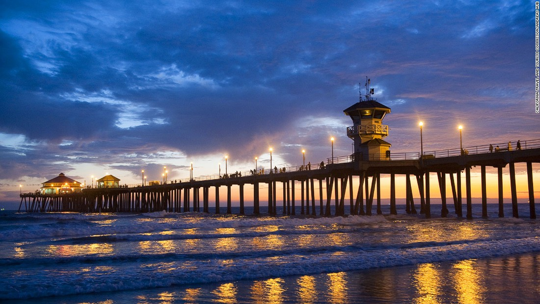 "Huntington Beach has been legally declared ""Surf City, USA."" Beginners should avoid surfing near the pier though."