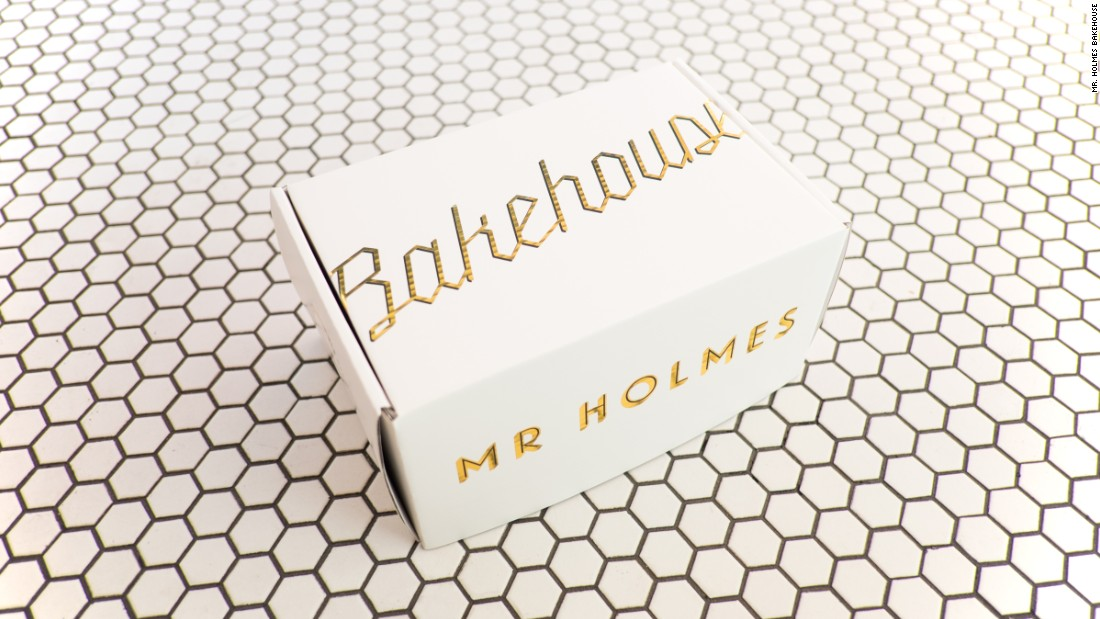 "Mr. Holmes Bakehouse design and take-out boxes were inspired by the rich packaging from the fictional Mendl's Bakery in Wes Anderson's ""The Grand Budapest Hotel."""