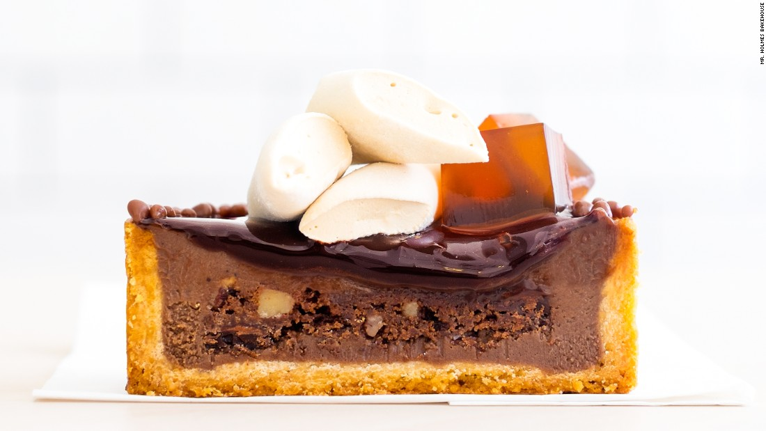 Pastry chef Ry Stephen worked in a Paris pastry shop before relocating to San Francisco. The influence shows in his caffe latte ganache, with brownie sponge, coffee glaze, coffee marshmallow and coffee jelly.
