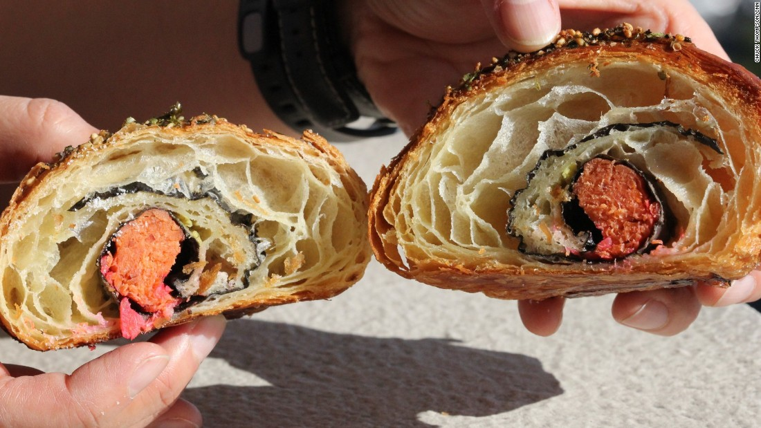The California croissant is stuffed with smoked salmon, pickled ginger and wasabi and comes with a packet of soy sauce.