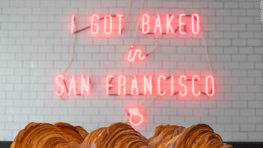 It's no Golden Gate Bridge but the neon sign inside Mr. Holmes Bakehouse has become a popular backdrop for visiting Instagrammers. There are no tables or chairs in the shop, it's take-out only.