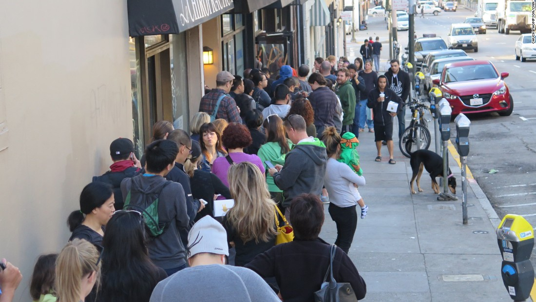 Lines usually begin forming outside the shop on Larkin Street well ahead of opening hours at 7 a.m. on weekdays, 8 a.m. on weekends.