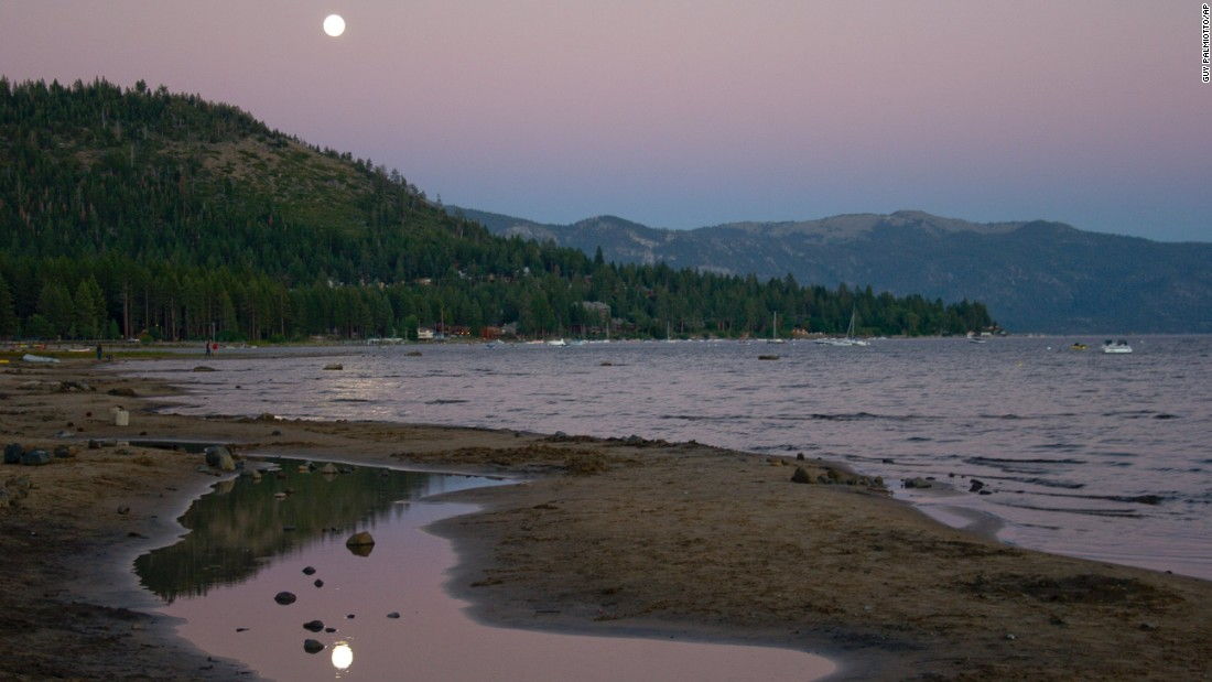 <strong>Kings Beach, California. </strong>After a full day of swimming, enjoy the sunset and moonrise at this Lake Tahoe, California, beach.