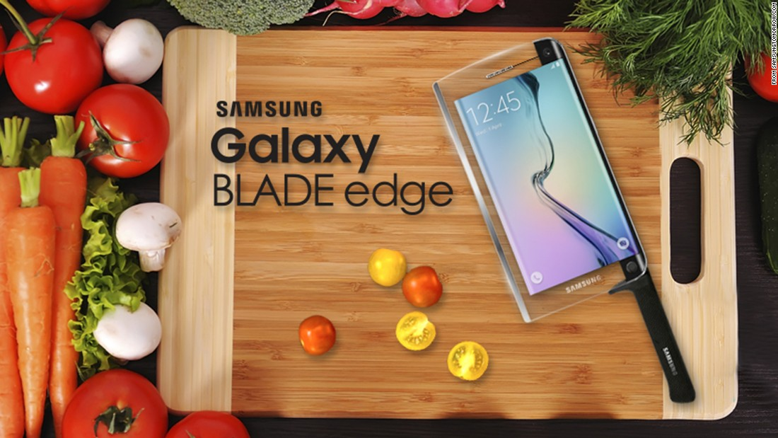 "Samsung unveiled its <a href=""http://global.samsungtomorrow.com/galaxy-blade-edge-chefs-edition/"" target=""_blank"">Galaxy BLADE edge</a>, ""the world's first smart knife with smartphone capabilities."" The promotional copy reads, ""for a more premium look, choose the premium mammoth tusk ivory inlay edition, made from real mammoth tusk, found beneath the surface of the North Sea.""<br />"