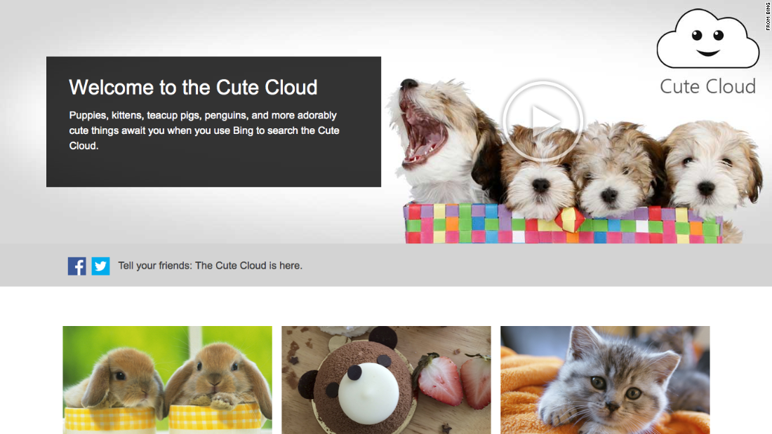 "Search engine Bing unveiled its <a href=""http://www.bing.com/explore/cutecloud"" target=""_blank"">Cute Cloud</a>, promising that ""puppies, kittens, teacup pigs, penguins, and more adorably cute things await you."" We sort of wish this was a real thing."