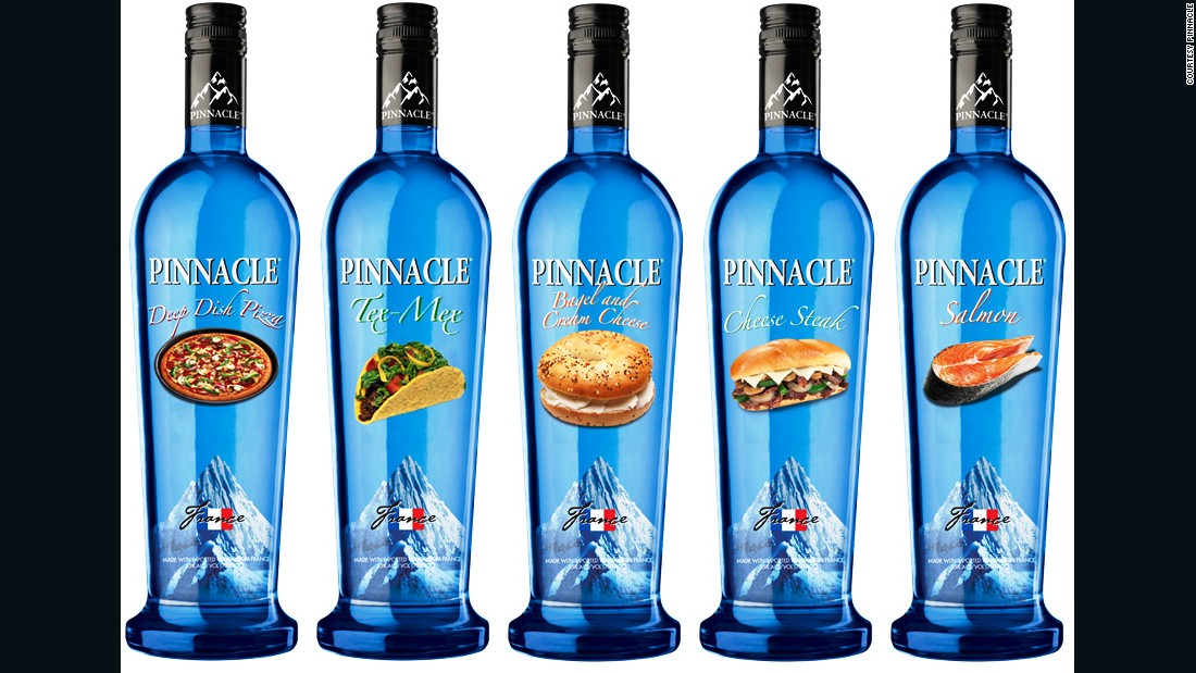 Pinnacle announced a line of flavored vodkas, including deep-dish pizza, salmon and cheese steak. Yum!